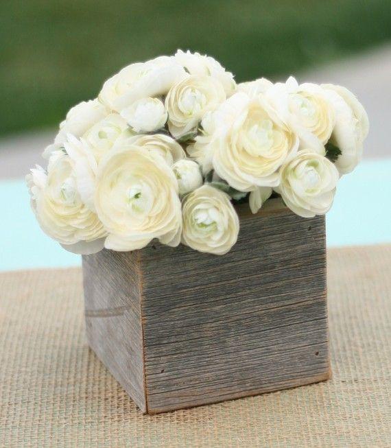 Rustic Barn Wood Planter Vase Wedding Shabby Chic