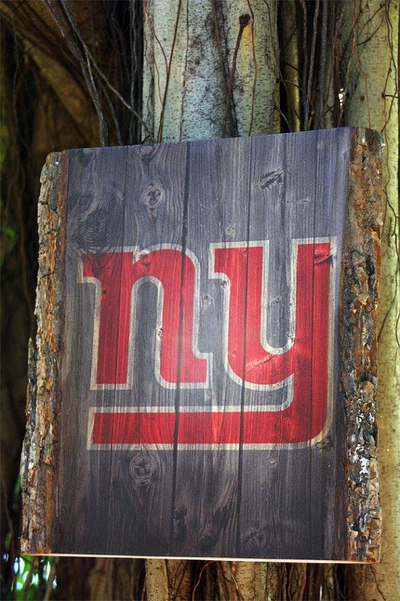 Decorative Wooden Plaque with New York Giants Logo  by WOODSNACKS, $40.00