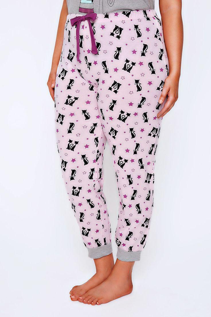 Pink & Black Cat Print Pyjama Bottoms Plus Size 14 to 36