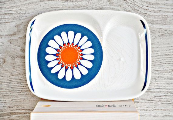 Rare Vintage Retro TV Serving Snack Plate Orange Blue Turi Design Daisy Figgjo Flint Norway