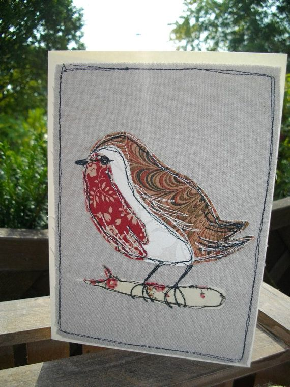 Christmas Robin Card Textile Card Machine by SewSweetbySuzanne