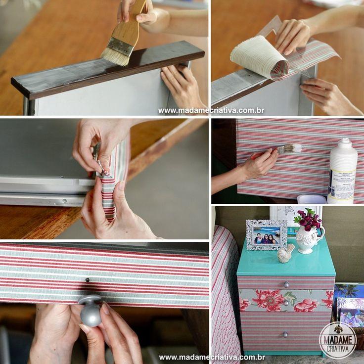 Como reformar uma cômoda, pintar e revestir-  Passo a passo com fotos