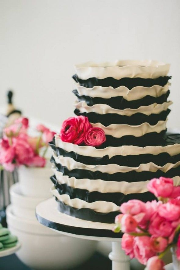 Baking Themed Bridal Shower - Preppy Wedding Style. Ruffled cake. #southernwedding #brialshower #cake