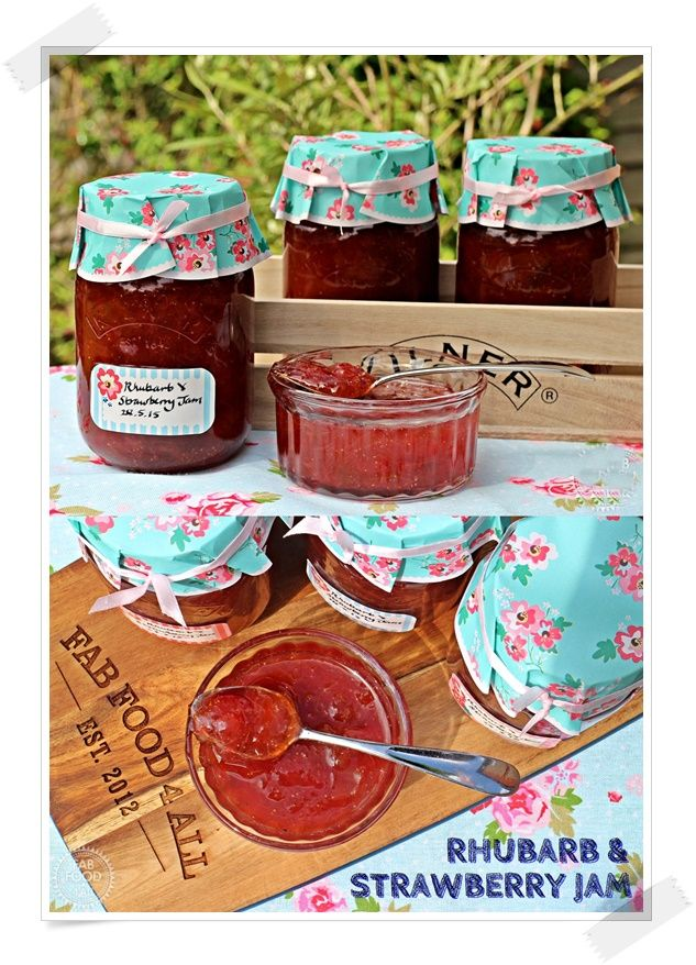 Rhubarb & Strawberry Jam, a delicious no pectin jam – Fab Food 4 All #strawberry…