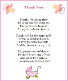 Thank You Poem From Baby Girl
