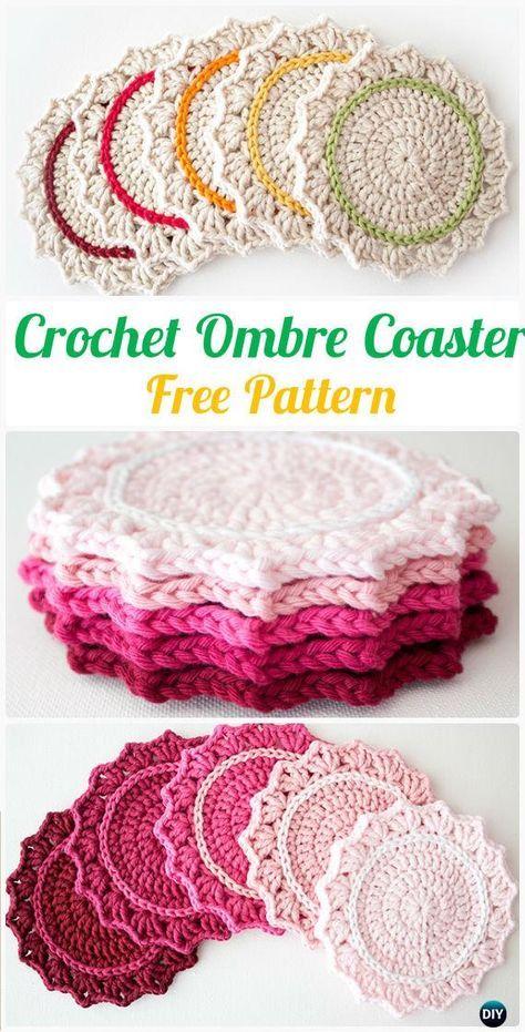 CrochetOmbreCoaster FreePattern- Crochet Coasters Free Patterns