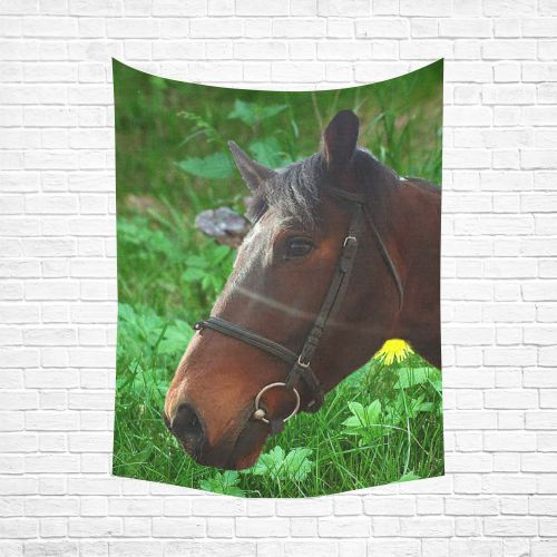 """Horse and Grass Cotton Linen Wall Tapestry 60""""x 80"""""""