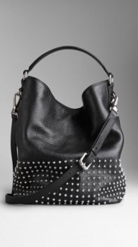 Medium Studded Leather Hobo Bag | Burberry