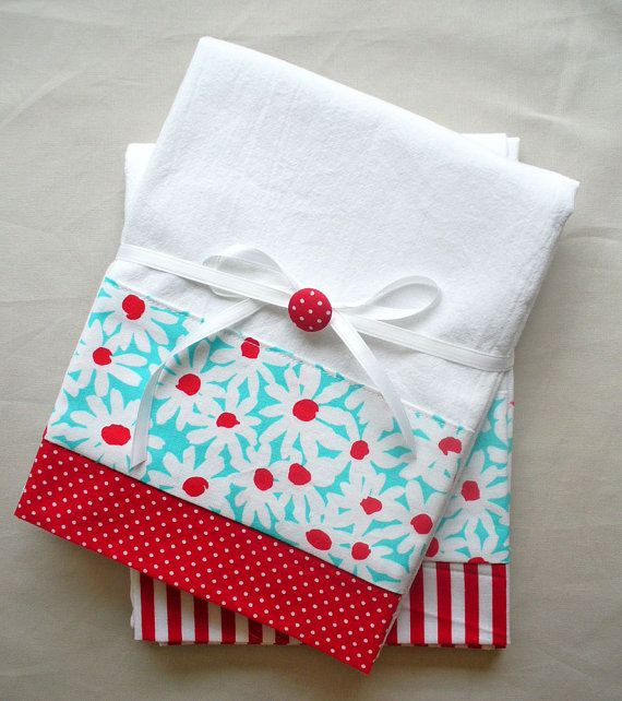 Kitchen towels with red and aqua daisies cotton fabric accent - set of two flour…
