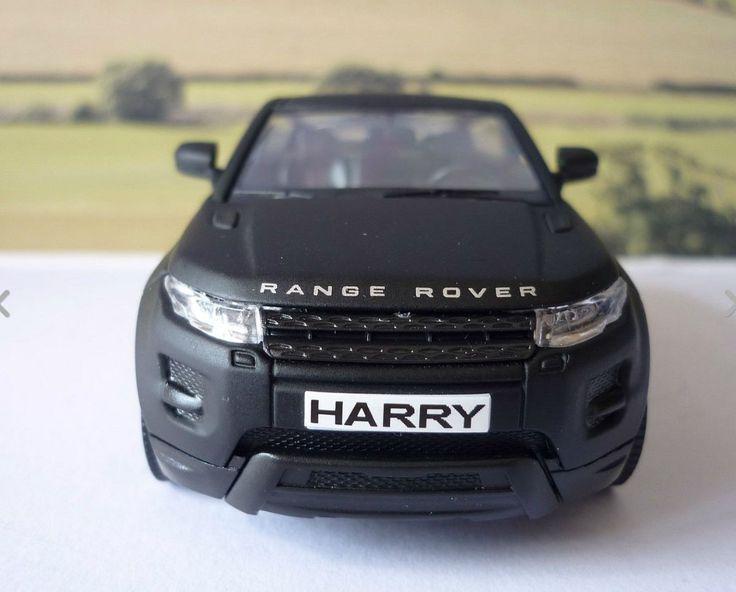 Personalised Plates Matt Black Range Rover Evoque Boys Toy/Model Car