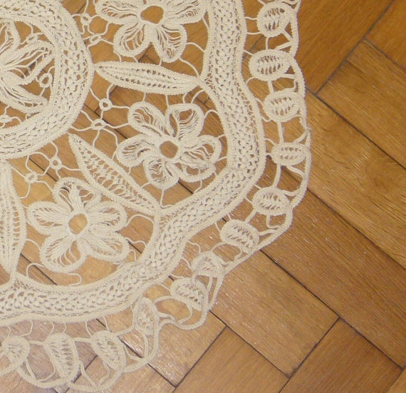 """Flower rug   This beautiful rug made by cotton crocheting and sewing. It is perfect for every house.    100% cotton  Measures 59cm or 23"""" from point to point"""