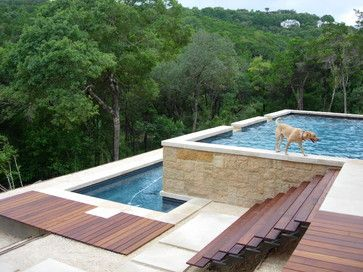 Decking the step and pools on pinterest for Pool design on a slope