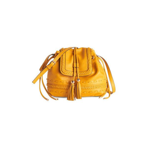Melie Bianco Boho Scenic Seflie Bag (120 BRL) ❤ liked on Polyvore featuring bags, handbags, purses, accessories, satchel, yellow, hand woven bags, boho handbags, yellow handbags and man bag