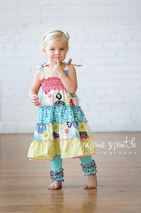 love the colors and fabrics in this dress!
