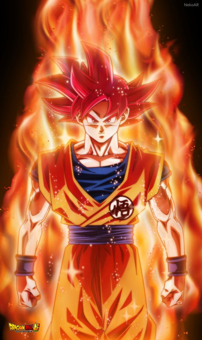 GOKU SUPER SAYAIN GOD By NekoAR #SonGokuKakarot