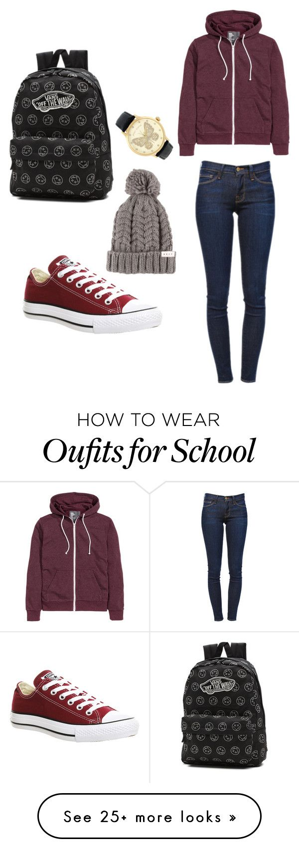"""Maroon Outfit for School"" by casandra-ramos on Polyvore featuring Mode, Frame Denim, Converse, Vans und Betsey Johnson"