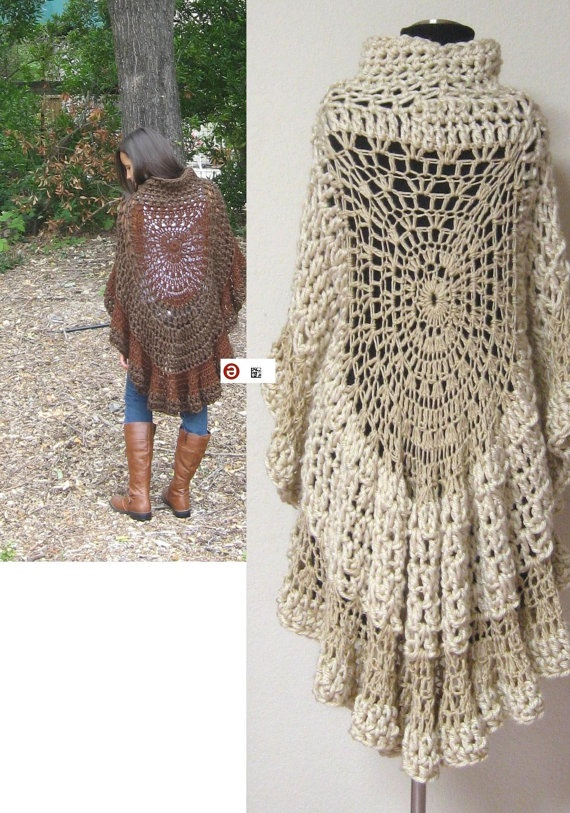 BROWN CAPELET PONCHO Crochet Fashion Original by marianavail, $85.00