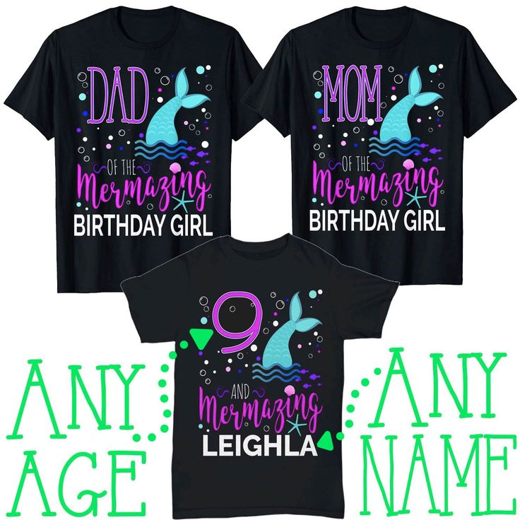 3 Shirt Set Mermazing Mermaid Birthday Girl Shirts Mom Dad