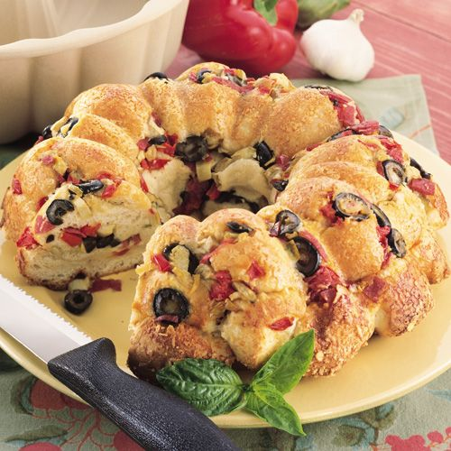 Antipasto+Bread+-+The+Pampered+Chef - I have made this bunches of times.  Easy and always a big hit.  The stoneware bundt pan does really make it though.