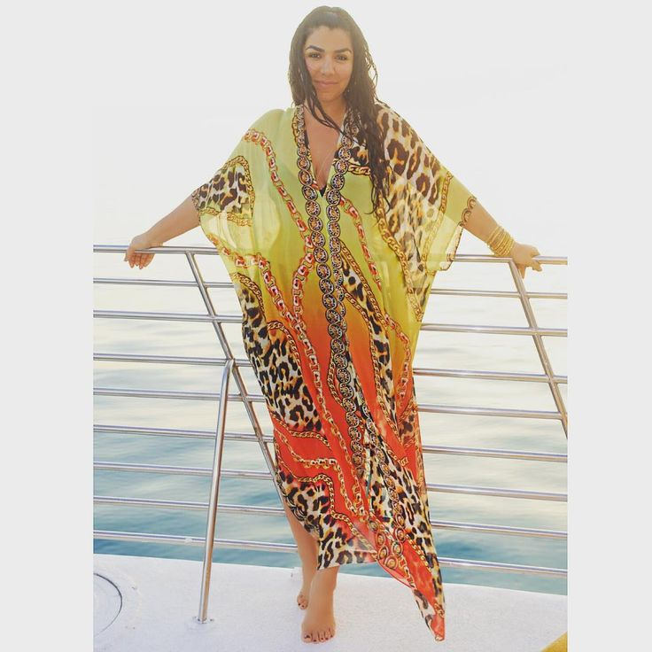 Asa living that beautiful #kaftanlife on a yacht in Hawaii wearing our glamorous MIAMI desert kaftan.  All desert kaftans for sizes S to 3XL.  30% off:  www.AsaKaftans.com  We ship worldwide.  Express shipping available. #asakaftans #shahs #GlamourGoddess