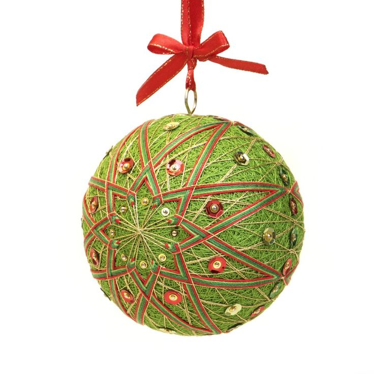 Christmas Ornament inspired on Japanese art Temari. Pattern - CHRISTMAS ROSETTE. Hand Made by JoeyART