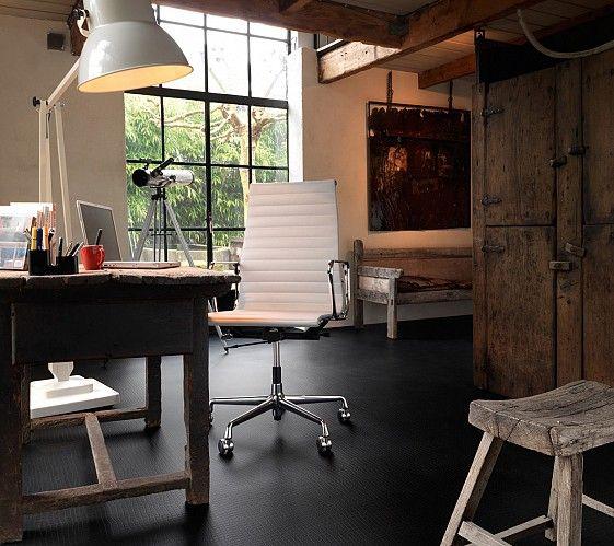 Black Marmoleum Walton Crocodile flooring is used in this office and it looks fantastic.