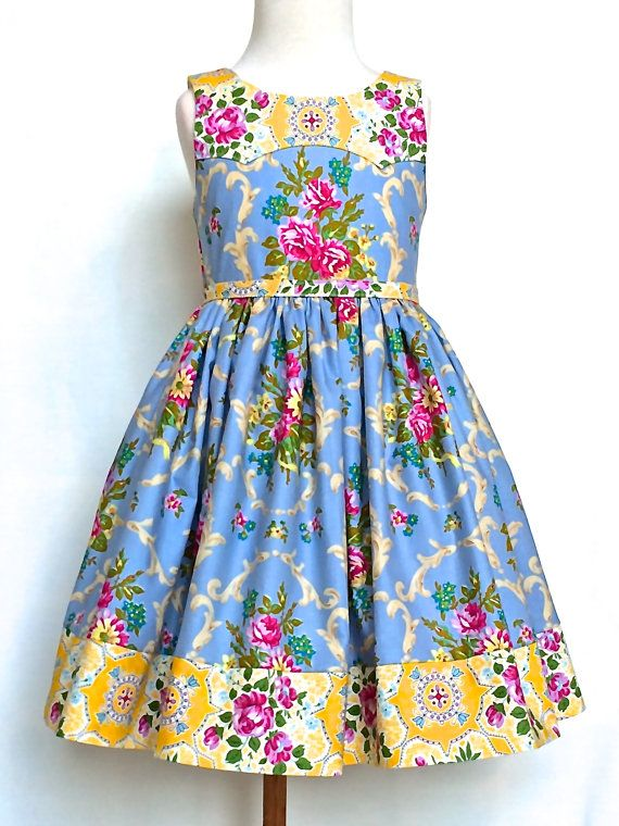 Girls Easter Dress Toddler Easter Dress  Blue, Yellow, and Pink Sizes 2T - 6 by 8th Day Studio