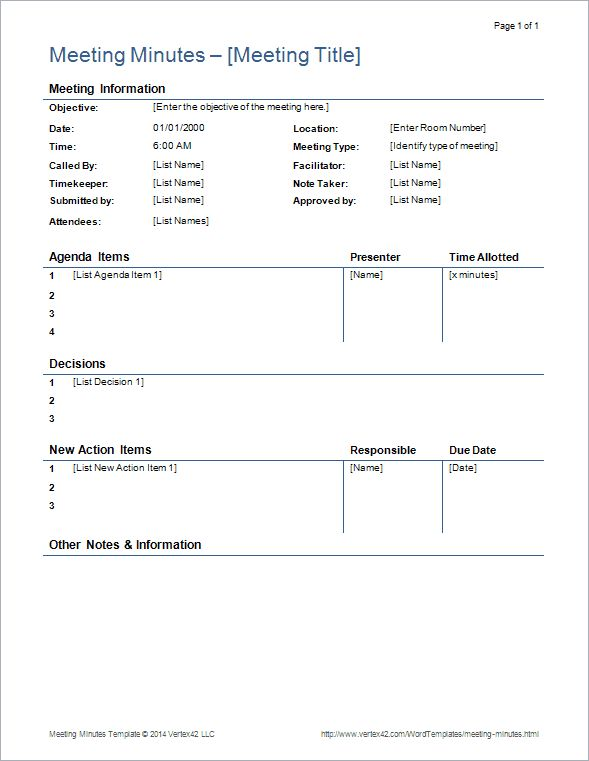 Download the Detailed Meeting Minutes Template from Vertex42.com