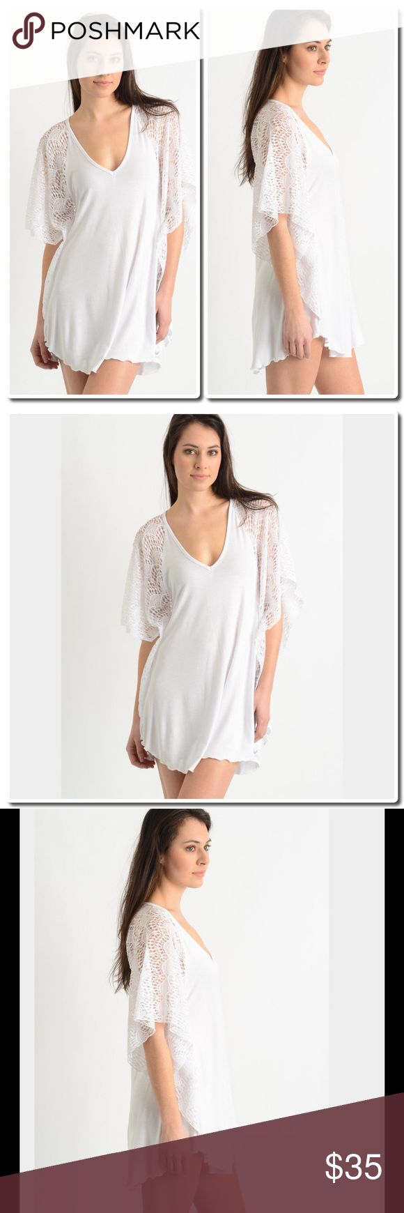 "NWOT COMING SOON Crochet Batwing Tunic Top Cover up in killer style with this crochet batwing tunic from yours truly. Easy and breezy, this cover up is ready for bikini season.   Crochet tunic  Batwing sleeves V-neckline Ruffled hem 92% polyester / 8% spandex Hand wash cold, dry flat Measures approximately 32"" from shoulder Model shown wearing size small (S) Made in the USA Tops Tunics"