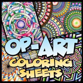 Op-Art Designs for Coloring and Art Activities - art lesson