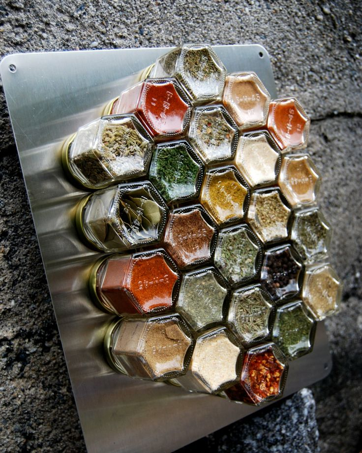 Honeycomb Magnetic Spice Rack For Wall. Set Of 24 Personalized,  Hand Stamped Empty Jars. Includes LARGE X Wall Plate
