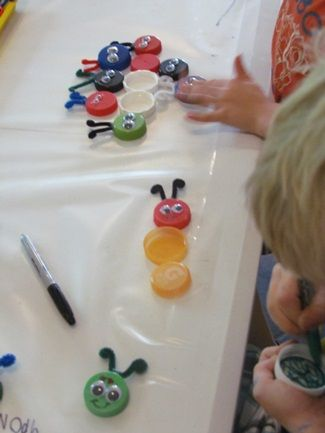 Great idea for insect themes. Uses recycled lids so inexpensive to make. Make colored bugs for color practice and longer bugs for numbers practice.