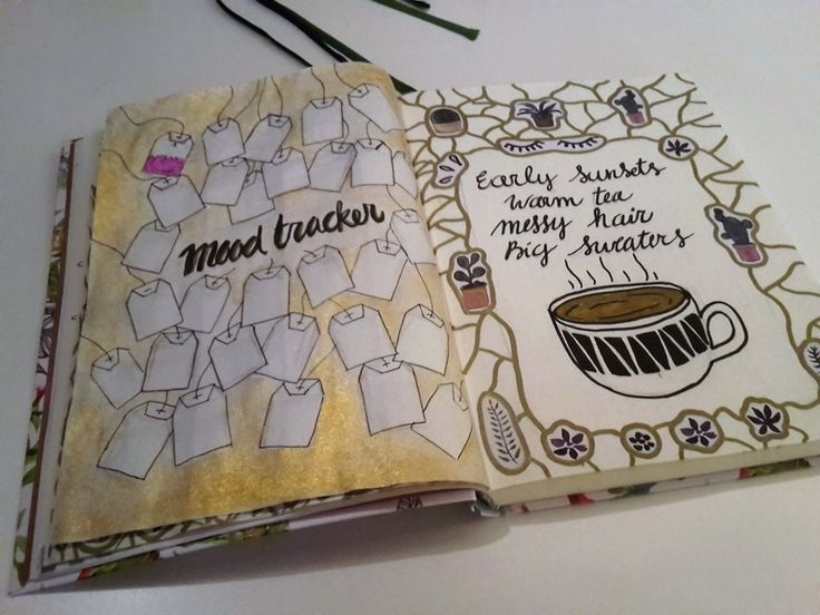 November- bullet journal moodtracker with tea bags!