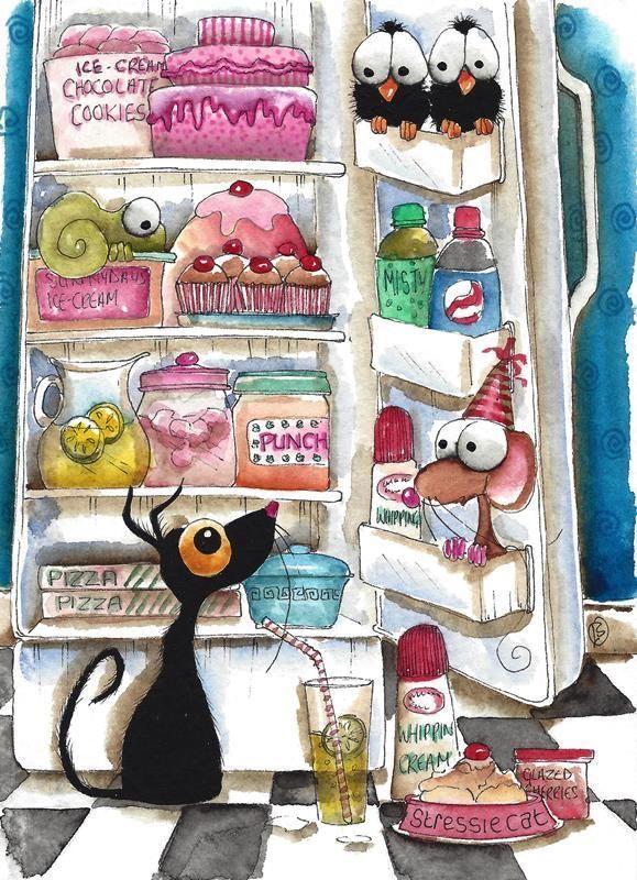 Original watercolor painting whimsy black cat bird crow mouse party fridge cakes #IllustrationArt
