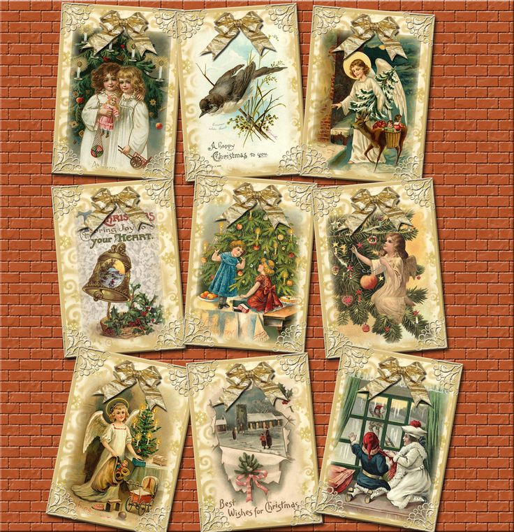 Golden Victorian Christmas ViNtAgE ArT Gift Tags/Cards/Labels/craft supplies- Printable Collage Sheet JPG Digital File-BuY OnE GeT OnE FREE embellishment gift label primitive rustic bookmark Christmas Children gold bow holiday angels bird BOGO thephotocube 2.50 USD