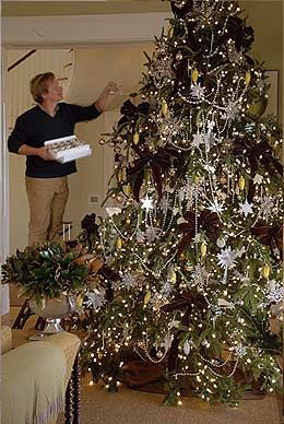 P. Allen Smith decorating his gigantic tree--does a brown base color and adds glimmer with gold and silver