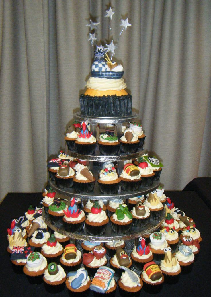 Kiwiana themed cupcake cake with goodnight kiwi cake topper