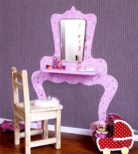 Lovely for little girls: beauty desk made out of wallpaper. With a real mirror and a little shelf. With printable pattern. LA: I could put this behind my bedroom door and put the shelf on a hinge with a little kickstand-type mechanism so it could collapse when not in use!