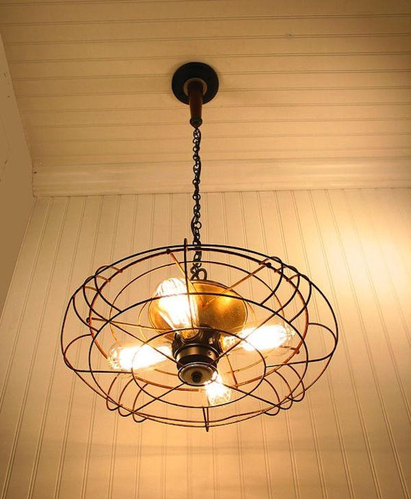 Pendant light from Industrial fan. source: LampGoods, etsy  We've definitely seen ceiling fans with lights, but how about a light fixture made out of a fan? Cleverly hand-crafted out of a vintage and bladeless fan and fashioned with Edison lights, this pendant lamp is cool in a whole other way.