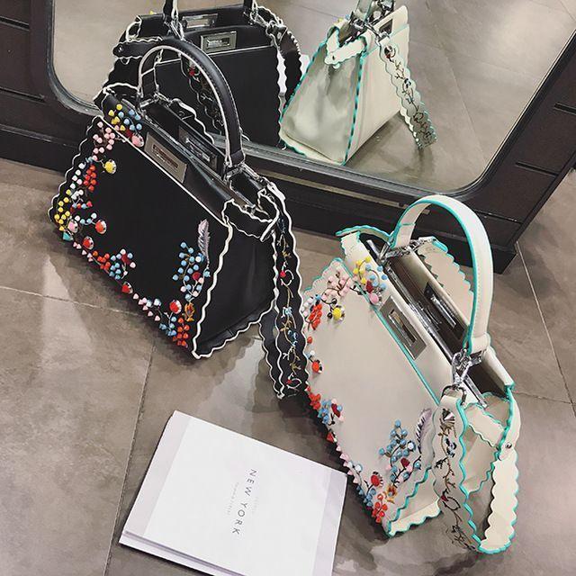 2017 Women Kaboo Bag Embroidery Famous Brand Designer Tote Handbag Shoulder Bags Printing Rivet Waves