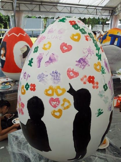 Pitter Chatter playgroup giant Easter egg decorating competition. Design by Elaine. 2015.