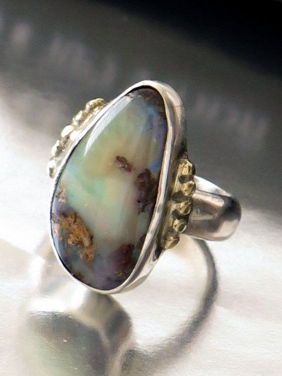 Two Tones Ring Silver Gold Opal Ring Sterling by rioritajewelry