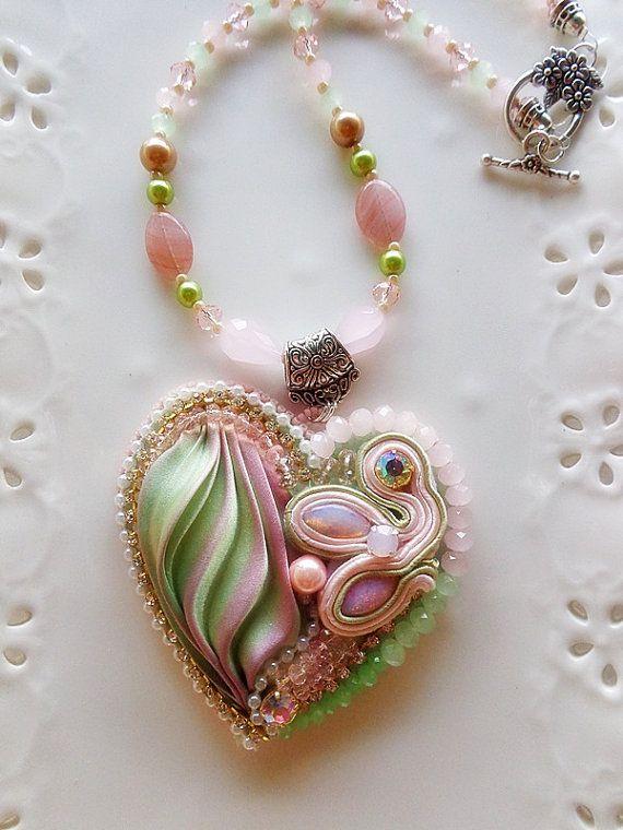 Shibori silk heart necklace pendant colorful by mysweetcrochet, $77.00