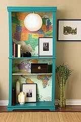 Love the DIY bookcase back drop
