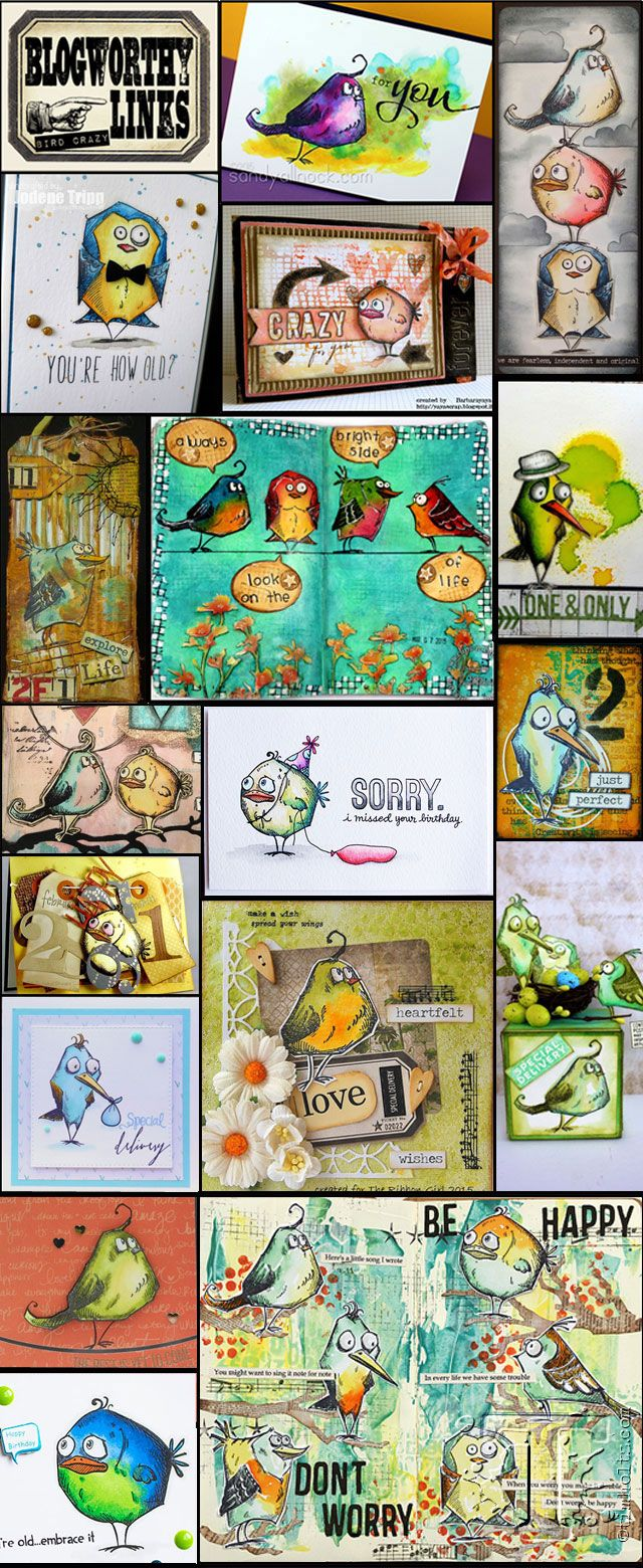 Check out these fantastic designs using the Bird Crazy stamps by Tim Holtz - available at Art by Jenny :) www.shop.artbyjenny.com.au