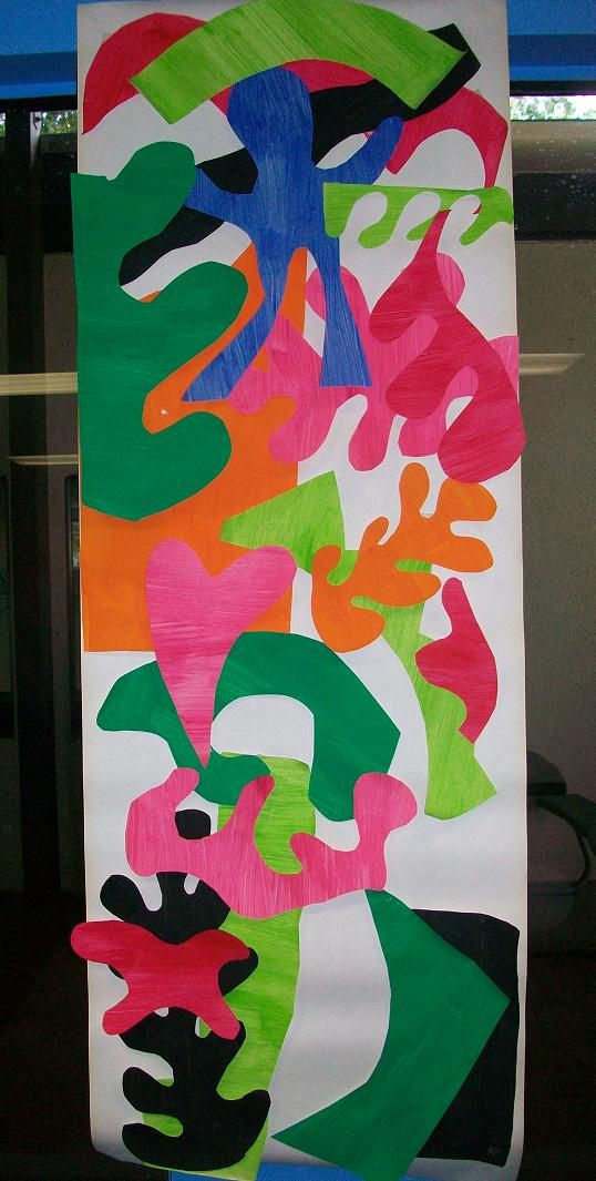 Henri Matisse cutouts.  Paint paper with tempera.  Cut out free flowing shapes.  Glue them on paper