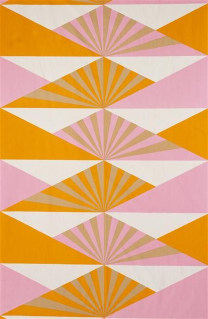 Lucienne Day, Sunrise, furnishing fabric 1969 Machine screen-printed cotton designed for Heal Fabrics Ltd.  ""