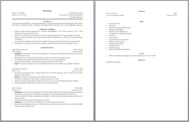 Administrative Associate Resume Administrative Resume Samples - optimal resume wyotech