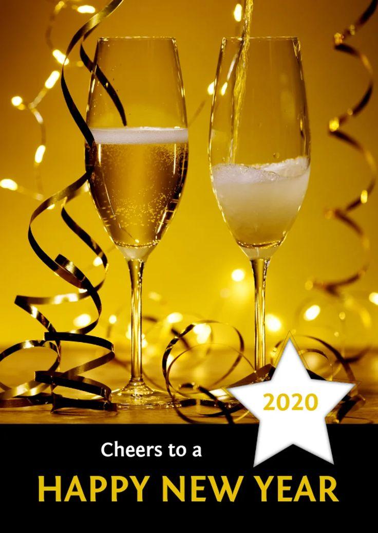 Nieuwjaarskaart champagne 'happy new year' 2020