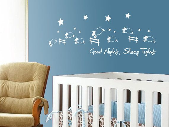 Good Night, Sleep Tight Wall decal jumping sheep, Kids Wall Decal Wall Sticker ,Wall decor